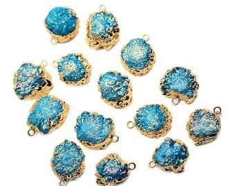 50% OFF Titanium Sky Blue Druzy Pendant, 22k Gold Electroplated 21x17mm Drusy Fashion Jewelry Necklace Pendant (DE-50983)