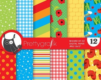 80% OFF SALE Wizard of oz digital papers, commercial use, scrapbook papers, background, - PS679