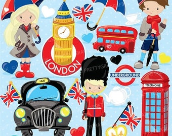 80% OFF SALE London clipart for scrapbooking, British London graphics commercial use, vector graphics, digital clip art, images - CL742