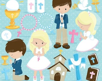 80% OFF SALE First communion clipart commercial use, christian clipart, bible vector graphics, digital clip art, digital images  - CL822