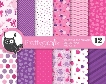80% OFF SALE Valentine sea animals digital paper, commercial use,  scrapbook papers, puns background - PS880