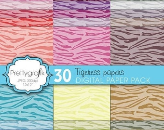 80% OFF SALE tiger animal print digital paper, commercial use, scrapbook papers, background  - PS598