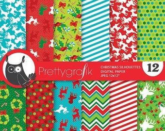 80% OFF SALE 80 Percent 0FF Sale Christmas digital paper, classic christmas papers commercial use, reindeer scrapbook papers, scrapbooking p