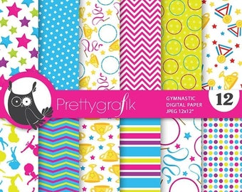 80% OFF SALE Gymnastic digital papers, commercial use, scrapbook papers, background  - PS752