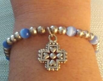 Vintage Plus Size 8 Inch Wrist Blue Glass Silvertone Cross Charm Stretch Bracelet