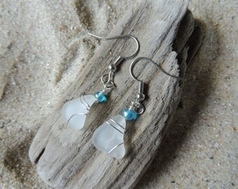 Handmade Natural Authentic White Sea Glass Earrings Wire Wrapped with Blue Accents Beachy!