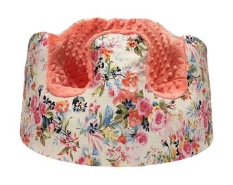 Watercolor Floral and Coral Minky Bumbo Seat Cover
