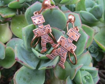Vintage Copper Aztec Warrior screw back dangle earrings