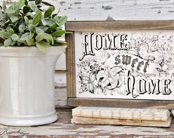 Farmhouse Sign Wood Framed HOME SWEET HOME Inspirational Art Print Farmhouse Decor Fixer Upper Decor Salvaged Barn Wood