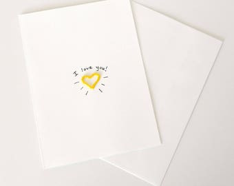 I Love You Greeting Card, Yellow Heart Handmade Card, Love card, Heart Greeting Card, Anniversary, Valentines Day