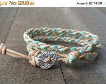 4th of July Sale braided leather wrap bracelet triple wrap thread braided bracelet waxed cord bracelet fine silver button earthy bracelet su