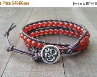 25% Off Carnelian leather wrap bracelet double wrap chakra bracelet om button dark brown leather boho bracelet chakra bracelet
