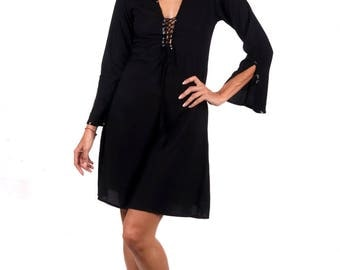 Fitted Swing Dress Black