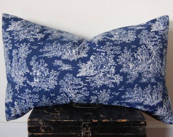 French Toile Navy Blue and White Throw Pillow Pattern Print Handmade / Featherdown Insert 24 x 16 INCH