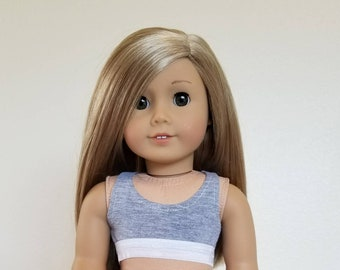 Grey sports Bra for American Girl Dolls  by The Glam Doll