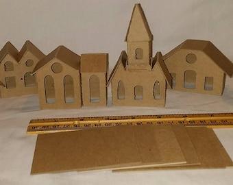Mini Vintage Putz Syle Houses- set of 6