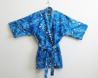 Hawaiian Blue Kimono Robe Short Palm Leaf Cotton Robe Large