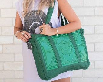 Oversized shoulder bag / large hobo bag / designer handbag / green oversized handbag / standout statement bag / Ornamentica print in vinyl