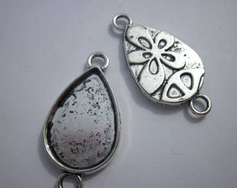 2 support cabochon metal silver - 26 mm (189)
