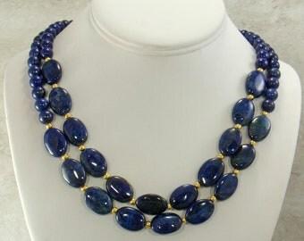 Blue Lapis Lazuli Gemstone Necklace Strand, Statement Necklace, Lapis Beaded Gemstone Necklace, Natural Lapis Lazuli Jewelry, Choose Length