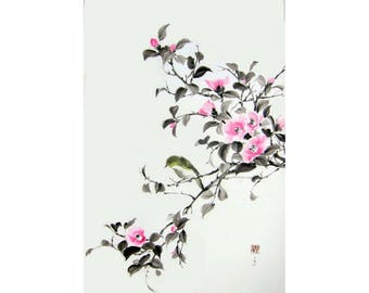 Pink Camellia and white eye bird Ink Painting Japanese art Ink art  Asian art Sumi-e Suibokuga  Rice paper, Large