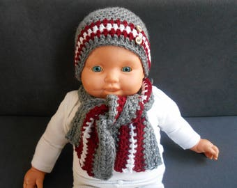 set baby boy hat and scarf lainebordeaux and grey handmade crochet
