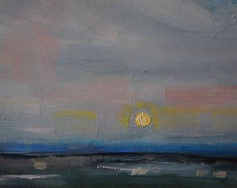 Moonrise on the Marsh Oil Painting Original Art Landscape Study Wetlands Saltmarsh Countyrside Tidal Moon Clouds Cloudscape Quiet Serene