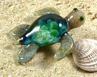 Glass turtle pendant etsy baby sea turtle necklace glass beads pendant handmade custom jewelry lampwork beads glass flowers boro beads mozeypictures Images