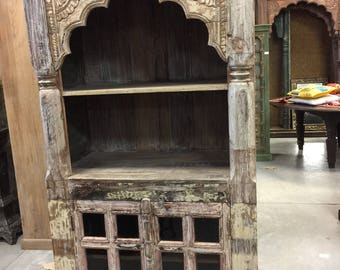 Antique Indian Library Bookcase Arched Frame Teak With Glass Rack double door India Interiors Hotel Design
