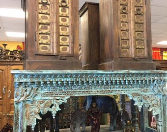 Antique Indian Hand Carved Blue Console Hall Table End Sofa Table Eclectic Luxury Rustic Decor