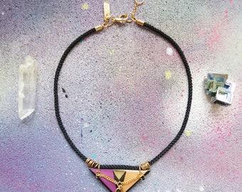 NIBIRU - geometric choker necklace, triangle choker necklace, black rope choker, graphic necklace, geometric jewelry, graphic jewelry, boho