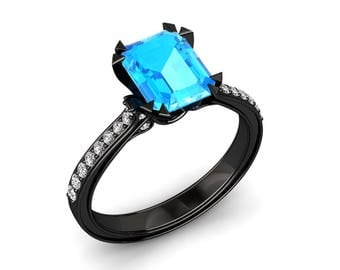 Topaz Engagement Ring 2.00 Carat Emerald Cut Blue Topaz And Diamond Ring In 14k or 18k Black Gold. Matching Wedding Band Available W13BU2BK