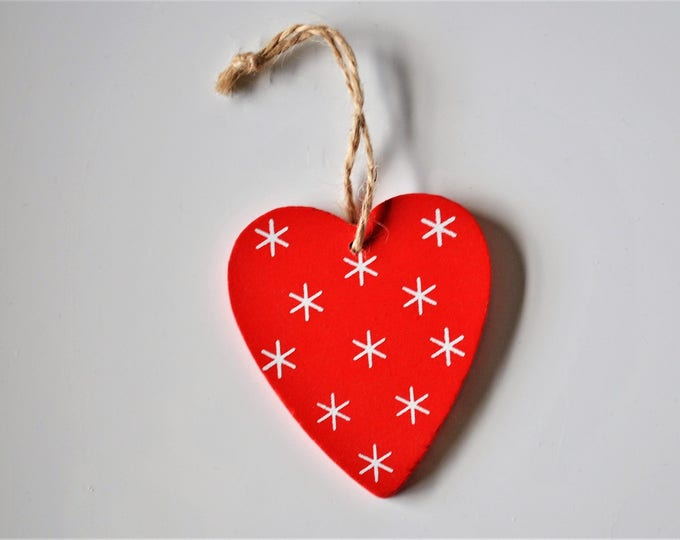 Swedish Wood Heart Ornament Hand Painted Red with White Stars Christmas Jul