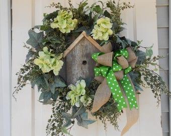 every day  owl bird house wreath porch wall grapevine orange  wood vines colorful fun wood birhouse door wreath handmade  wall wreath burlap
