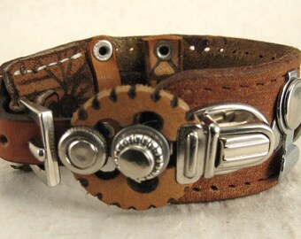 402 Burning Man Steampunk Bracelet Recycled Jewelry Industrial
