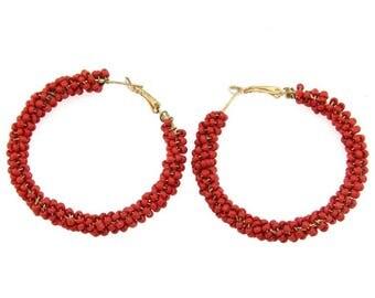 Crimson beaded hoops