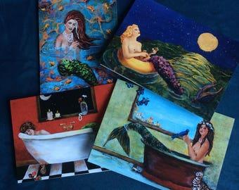 Pack of Four Mermaid Blank Notecards by Linda Queally