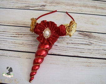 Handcrafted Holiday Red and Gold Unicorn Horn Headband - Adult Unicorn Headband - Unicorn Costume Accessory - Unicorn Christmas Gift -Sequin