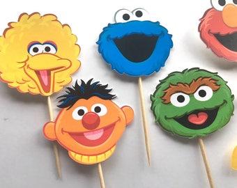 Elmo Cupcake Toppers, Sesame Street Cupcake Toppers, Elmo Party, Elmo Party Decoration, sesame street Toppers, sesame street Birthday