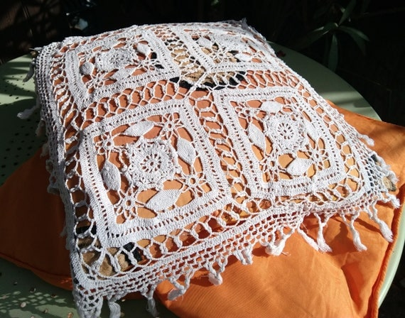 Antique French Pillow Lace Fringed Hand Crocheted White Cotton Cover #sophieladydeparis