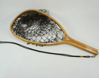 Vintage Landing Net, Fishing Net, Wood Catch & Release Net, Fly Fishing Supplies, Trout Net, Scotchline W.N.4 Wood Handled Net
