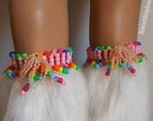Pink and rainbow kandi garters, rave costume, rave outfit