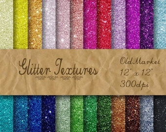 SALE- Glitter Digital Paper - Glitter Textures - Glitter Backgrounds -  24 Colors - 12in x 12in - Commercial Use -  INSTANT DOWNLOAD