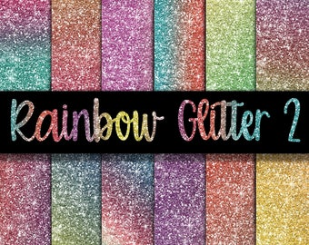 Rainbow Glitter Digital Paper Set 2 - Glitter Textures - Glitter Backgrounds -  12 Colors - 12in x 12in - Commercial Use -  INSTANT DOWNLOAD