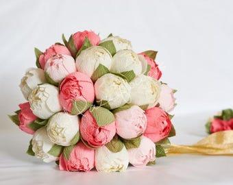 Wedding bouquet,bridal bouquet,paper flower bouquet,paper flower peony,bouquet paper peony,
