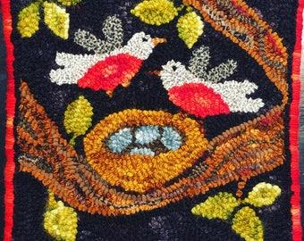 "Hand hooked wool rug 12""x12"""