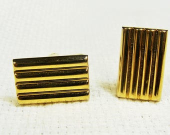 Hickok Cuff Links Gold Rectangles Lines Bars