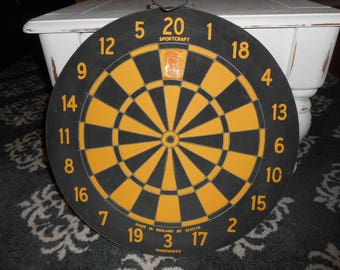 Vintage Two sided Dart Board Target Scotts Yellow and Black, Man Cave