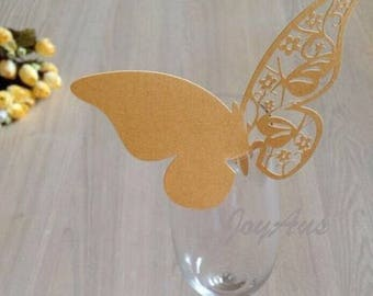 50x Gold Butterfly Name Place Card | Wine Glass Flute Wedding & Party Reception Ceremony Banquet Function Table Centerpiece Decoration