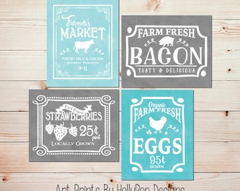 Farmers Market Kitchen Art Kitchen Art Prints Farmhouse Kitchen Posters  Cafe Kitchen Decor Cafe Art Farm